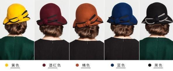 新款半捲邊全羊毛氈帽1入