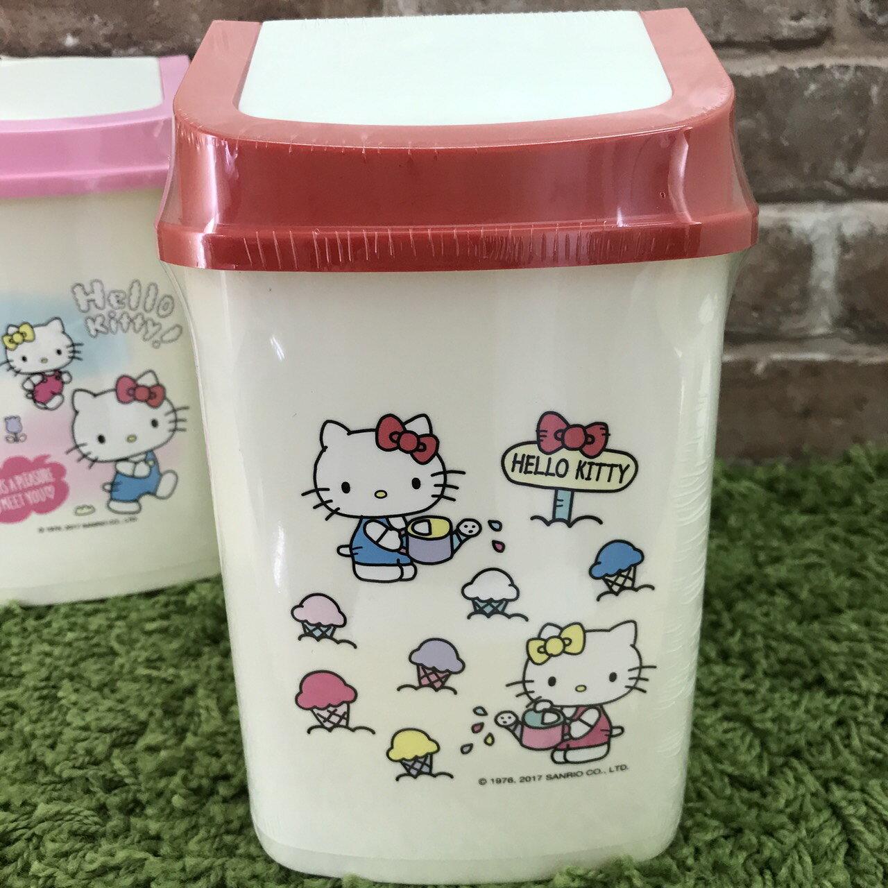 【真愛日本】17110600029 迷你旋轉蓋方型垃圾桶-KT種植new 三麗鷗 Hello Kitty凱蒂貓 日用品居家收納用品