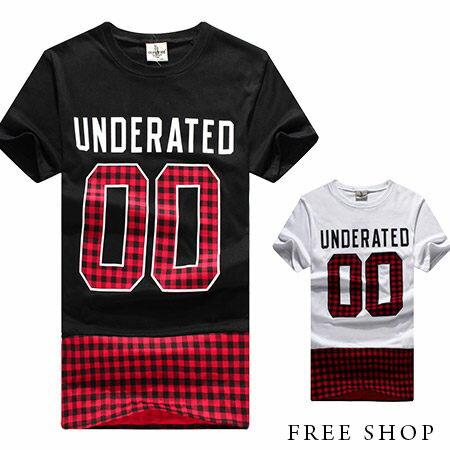 Free Shop~QSPN3794~日韓風格大數字00 文字格紋拼接圓領棉質短T短袖上衣