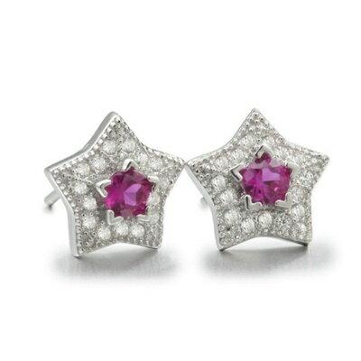~925純銀耳環鑲鑽耳飾~簡約 五角星形情人節 女飾品2色73dm98~ ~~米蘭 ~