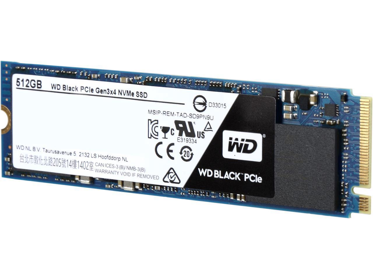 WD Black SSD 512GB Performance M.2 2280 PCIe Gen3 x4 PCI-Express 3.0 x4 NVMe 80mm Western Digital Internal Solid State Drive WDS512G1X0C