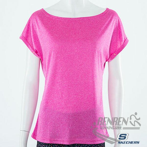 SKECHERS女慢跑短袖T恤(桃紅色)排汗快乾運動休閒柔軟舒適