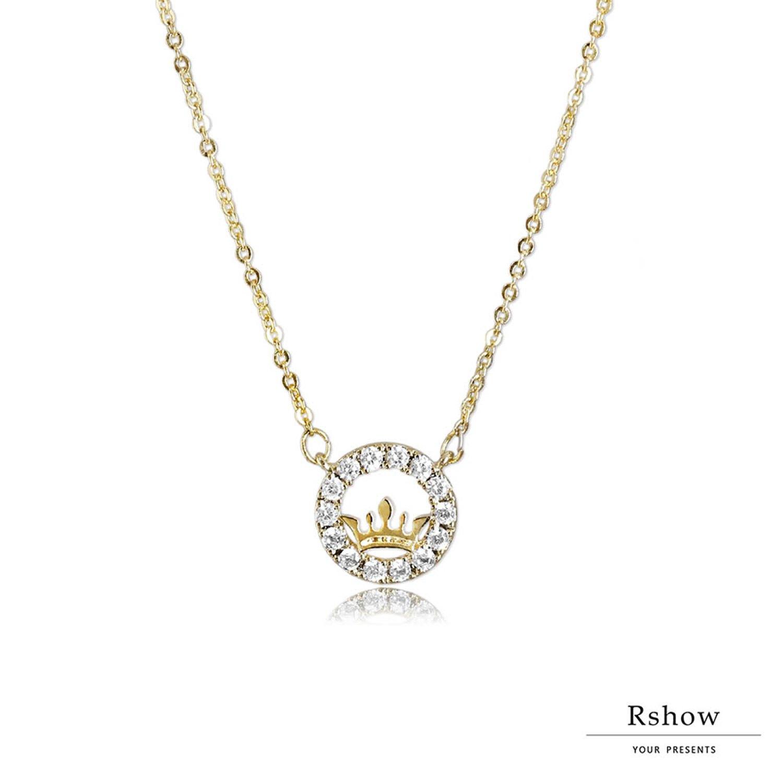 【Rshow】 維多利亞小皇冠 微鑲圈圈鎖骨鍊 1