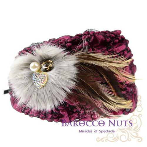 【Barocco Nuts】[造型搭配] 髮飾系列:黑點抓皺白軟毛咖啡鳥羽蓓蕾帽-紫紅珠鑽髮箍(彈性髮箍/織布/羽毛/韓風/BLING/流行/名媛/氣質/甜美/華麗/party/婚禮)