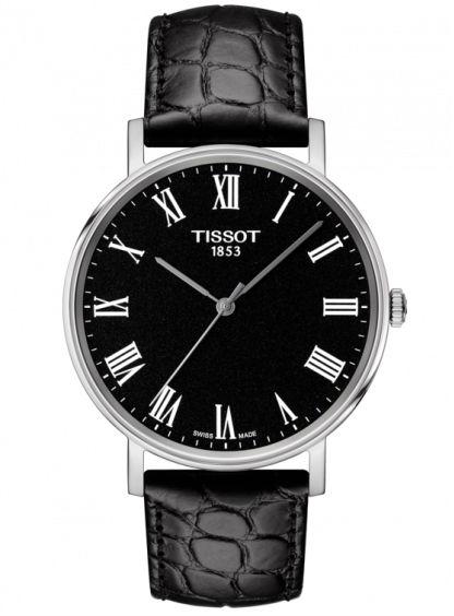 TISSOT 天梭表 T1094101605300 Everytime經典時尚紳士石英腕錶 / 黑錶帶+黑面 38mm - 限時優惠好康折扣