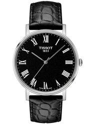 TISSOT 天梭表 T1094101605300 Everytime經典時尚紳士石英腕錶/黑錶帶+黑面 38mm