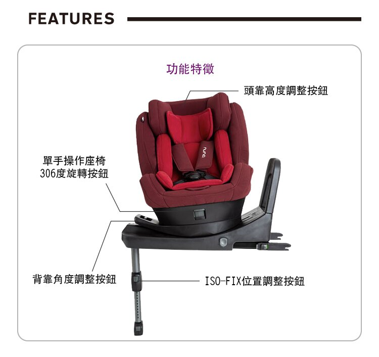 NUNA - Rebl 0-4歲ISOFIX兒童安全座椅 -黑 贈品牌手提袋+可愛玩偶吊飾,加贈費雪可愛動物小鋼琴健身器! 2