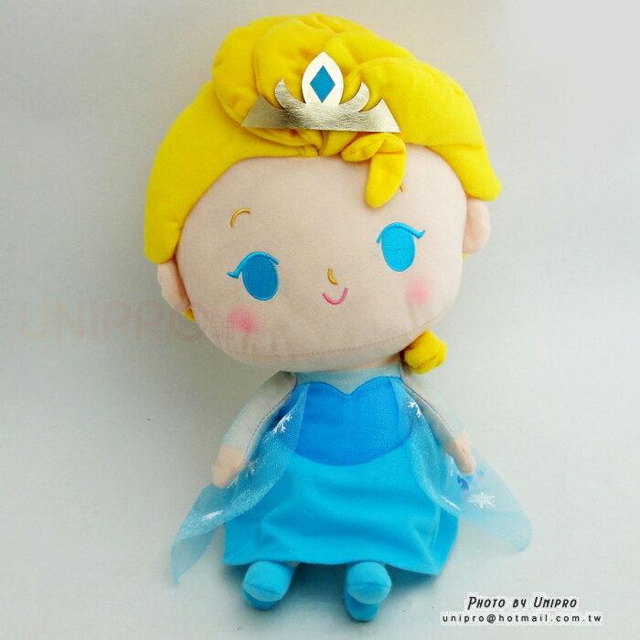 【UNIPRO】迪士尼正版 冰雪奇緣 FROZEN Q版 艾莎 公主 ELSA 34公分 絨毛娃娃 玩偶 禮物