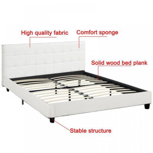 New Platform Bed Frame Upholstered White Leather Slats Headboard Bedroom Queen 5