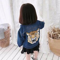 [KENZO風]老虎頭刺繡 兒童牛仔夾克 兒童牛仔外套 兒童牛仔襯衫