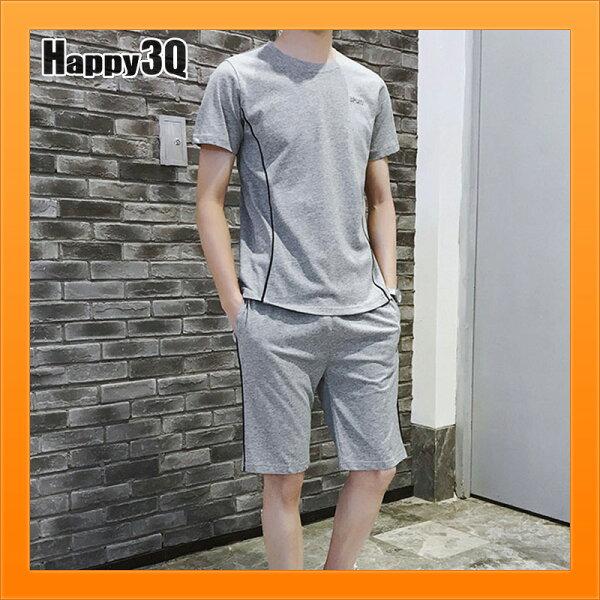 男生上衣運動套裝短褲線條修身運動服短袖上衣短T-Shirt短褲-多款L-5XL【AAA4494】