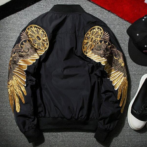 【米蘭秀】【奇珍館】:空軍夾克MA1外套-帥氣羽毛刺繡設計飛行員男軍裝外套3色73pf9【獨家進口】【米蘭精品】