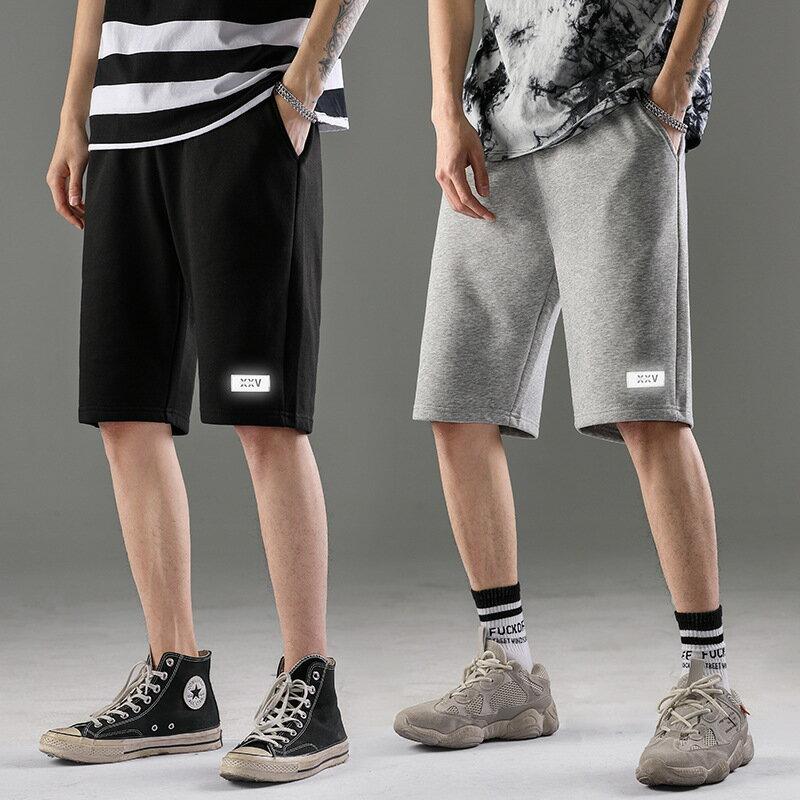 夏抽繩灰色短褲男五分褲寬鬆直筒針織運動褲修身休閒墜感衛褲籃球