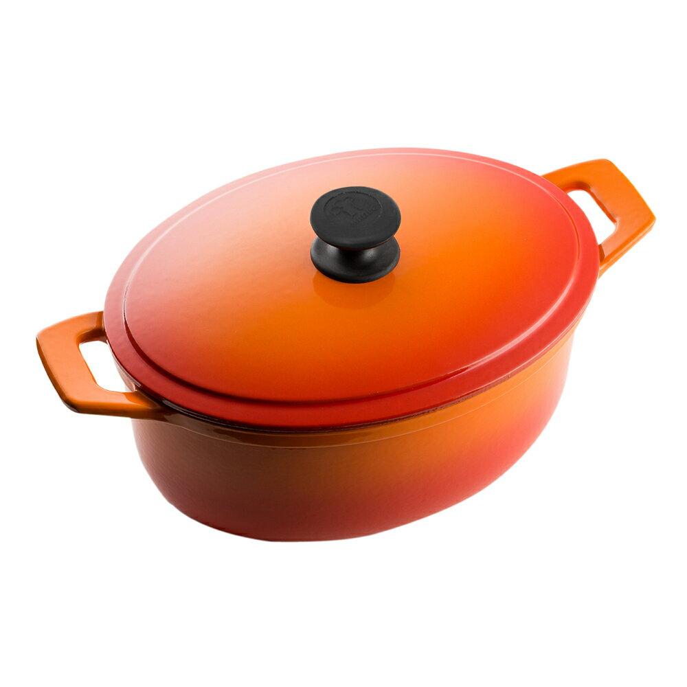 Multee摩堤 28cm橢圓鑄鐵鍋(容量4.3L 白琺瑯 適合4-5人 湯鍋 燉鍋)