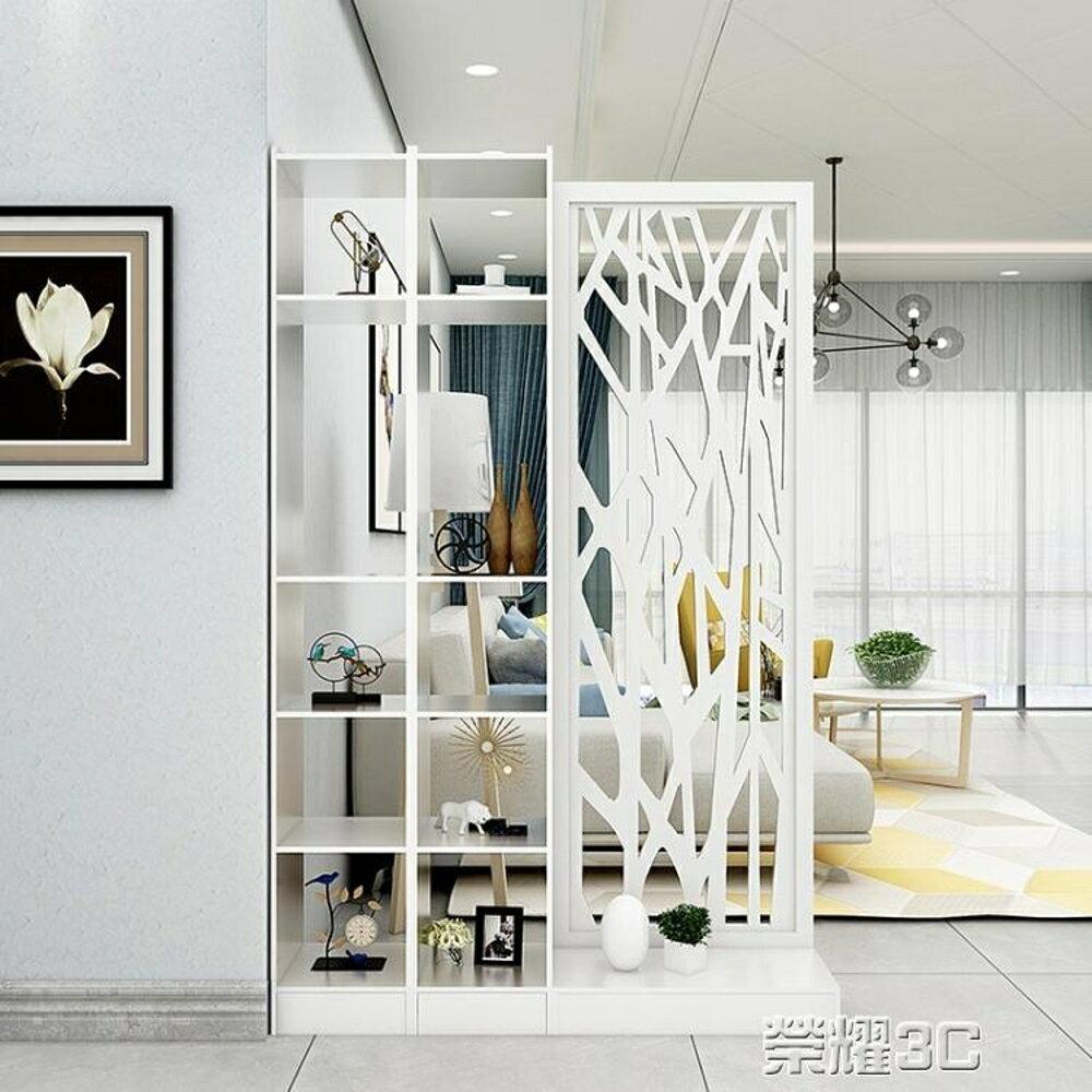 屏風 客廳屏風玄關櫃櫥窗雕花隔斷歐式現代白色門廳櫃間廳櫃置物儲物櫃 榮耀3c 0