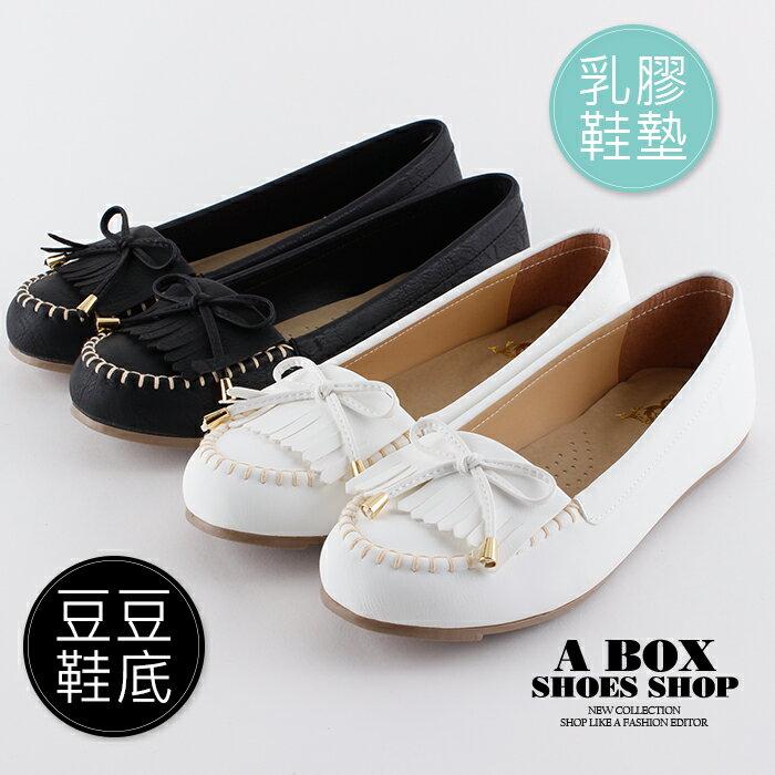 【KT5199】(大尺碼25.5-27)豆豆鞋 圓頭包鞋 流蘇蝴蝶結 舒適柔軟乳膠鞋墊 MIT台灣製 2色