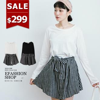 下拼格子假兩件式連身裙(附綁帶)-eFashion 預【E10622706】