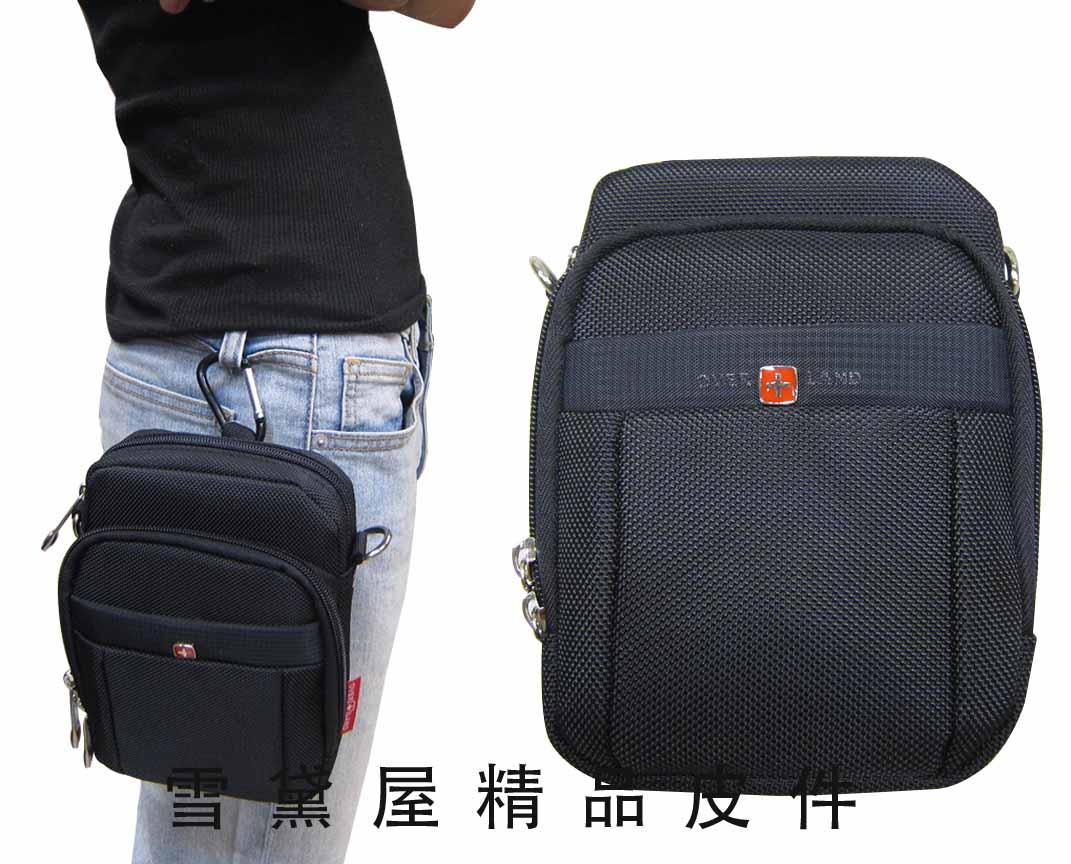 <br/><br/> ~雪黛屋~OVER-LAND 外掛式腰包外袋可4.7寸機防水尼龍布隨身物品專用包工作袋可穿過皮帶外掛多功能 #3126<br/><br/>