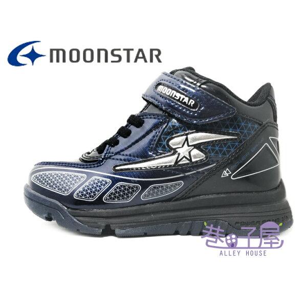 【巷子屋】Moonstar月星童款健康機能隱藏雪地止滑釦運動鞋[J52SP5]深藍超值價$690
