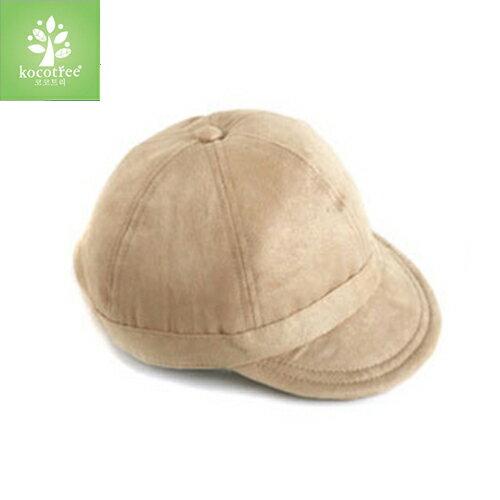 Kocotree◆秋冬簡約好質感麂皮絨帽子兒童貝雷帽-土黃