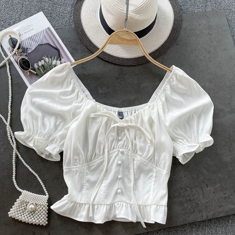 夏天必備 簡單 質感 可愛露肩 甜美寬領泡泡袖 修飾木耳邊短版素面上衣 棉質 百搭 爆款 基本款 白色 黑色 藍色