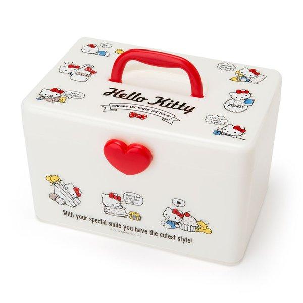 【真愛日本】18083000001手提收納箱-KT愛心白ADFB凱蒂貓kitty三麗鷗手提箱收納箱置物箱