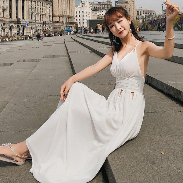 PS Mall 鏤空露背巴厘島度假沙灘吊帶V領長裙 連身裙 洋裝【T371】 0