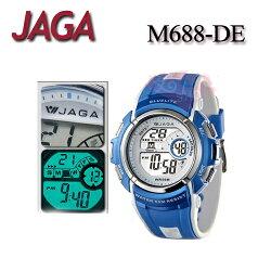 JAGA 捷卡 M688-DE 白藍配色 時尚休閒運動 多功能冷光電子錶-男錶 (公司貨/保證防水可游泳)