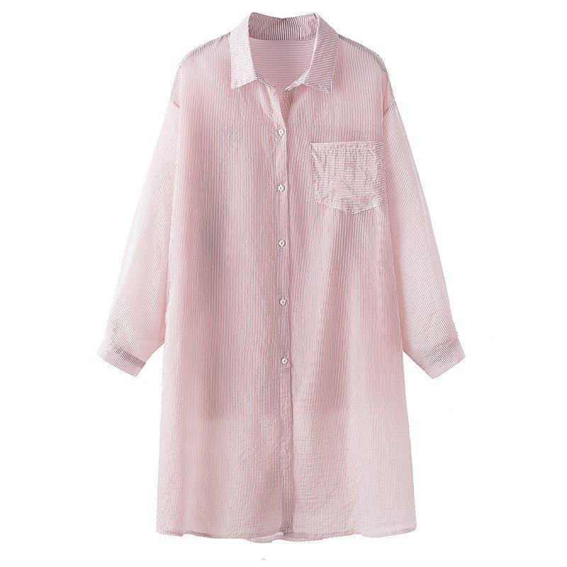 雪紡襯衫-長款雪紡襯衫寬鬆防曬中長款薄款襯衫外套 8