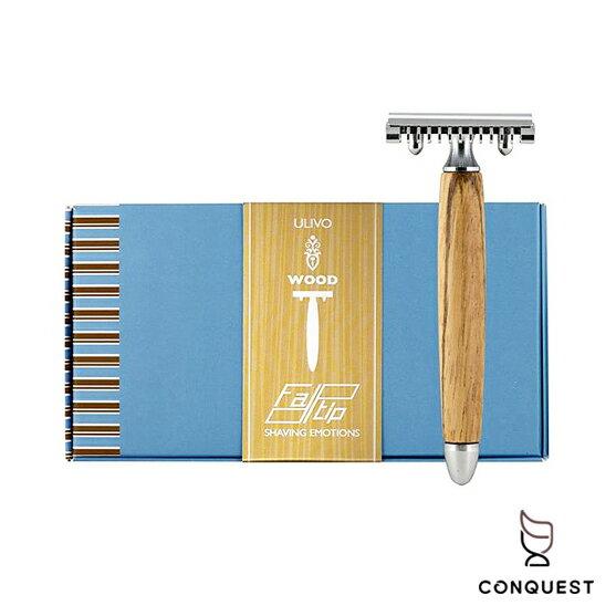 【 CONQUEST 】義大利 FATIP 42111 手動傳統安全刮鬍刀 橄欖木把柄木柄 開放式刀頭 加贈五片替換刀片