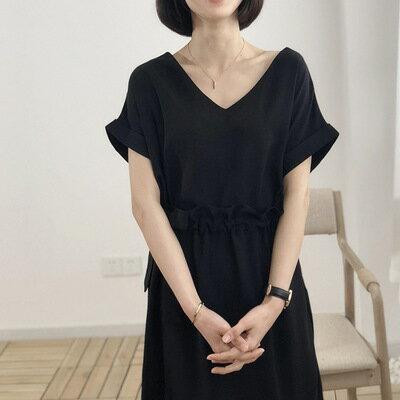 韓系女裝純色鏤空收腰繫帶中長款連身裙洋裝樂天時尚館。預購。[全店免運]