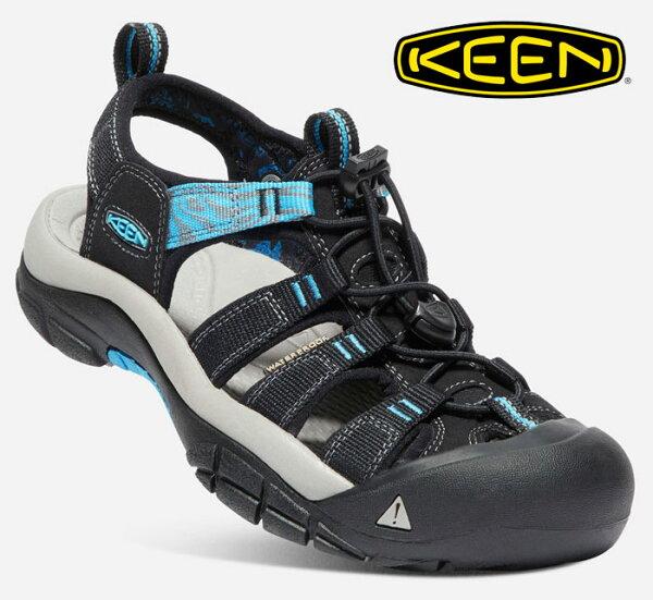 【Keen美國】NEWPORTHYDRO越野護趾涼鞋運動涼鞋黑粉藍女款/1019292
