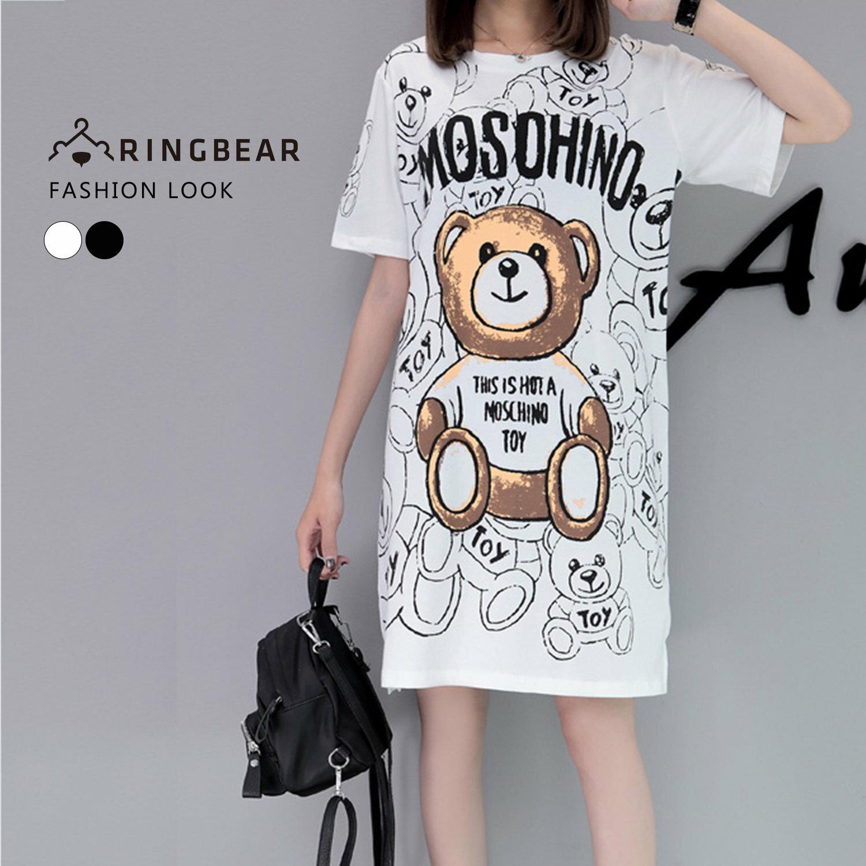 休閒洋裝--可愛滿版熊熊英字印圖圓領短袖開衩下襬長版上衣(白.黑M-3L)-D456眼圈熊中大尺碼 0