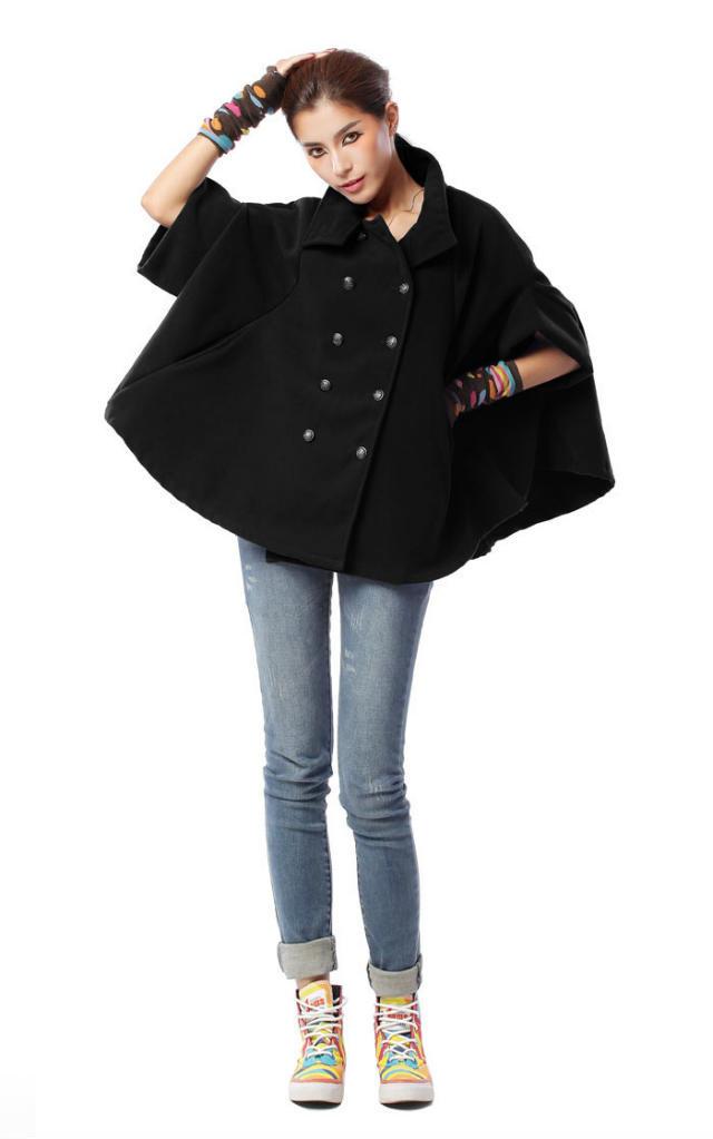 雙排扣鬥篷式大衣蝙蝠袖外套