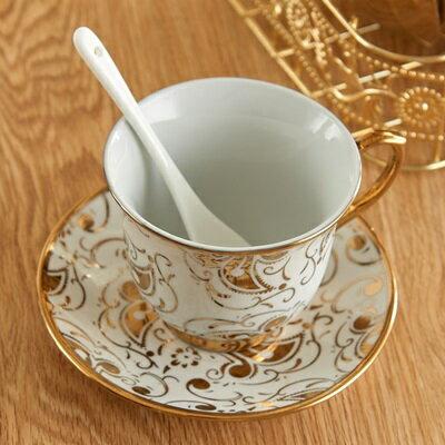 ★下午茶茶具含茶壺咖啡杯組合-6人燙金花紋歐式陶瓷茶具69g81【獨家進口】【米蘭精品】 1