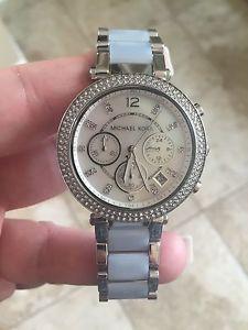 美國Outlet 正品代購 Michael Kors MK 三環 淺藍精鋼 滿鑽 手錶 腕錶 MK6138 9