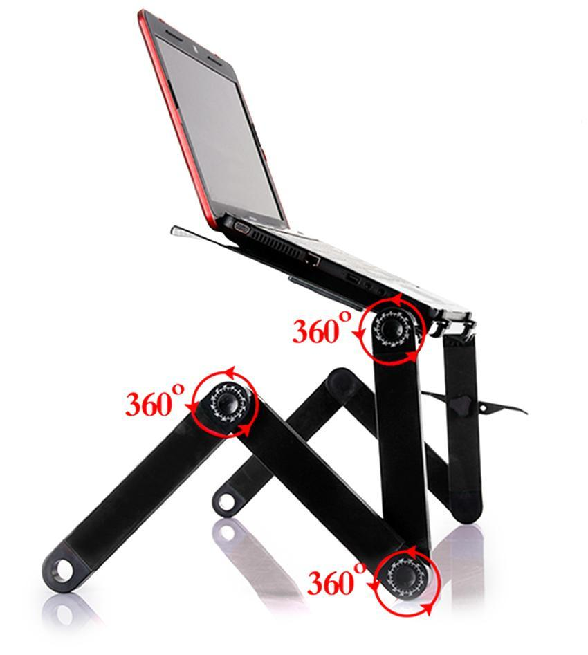 360 Degree Adjustable Foldable Laptop Notebook Desk Table Stand Tray With Fan 0
