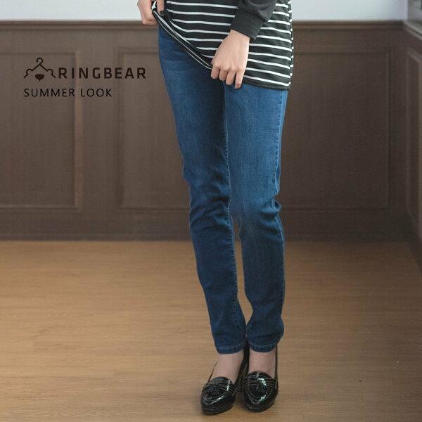 眼圈熊S-7L大小尺碼衣褲專賣:牛仔褲---經典時光質感金蔥裝飾壓線舒適彈性丹寧直筒褲(藍M-3L)-C93眼圈熊中大尺碼