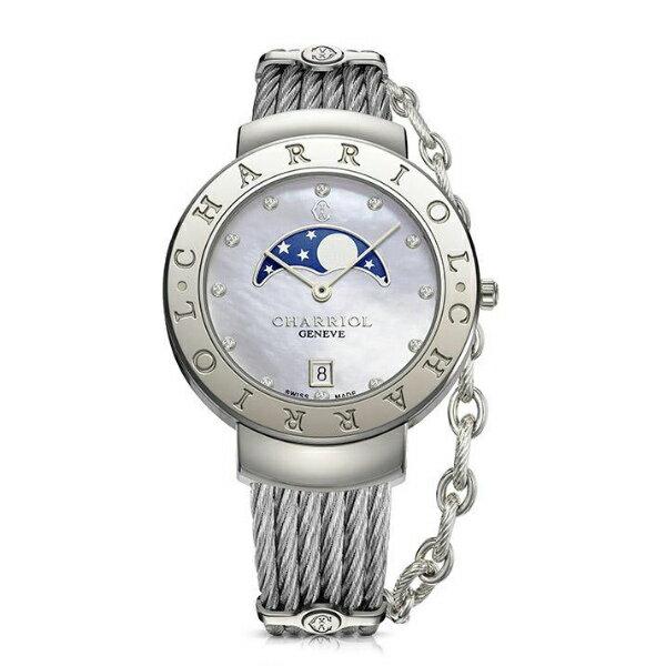 CHARRIOL夏利豪(ST35CS.560.008)真鑽月象盈虧優雅鋼索腕錶 / 珍珠母貝面35mm - 限時優惠好康折扣