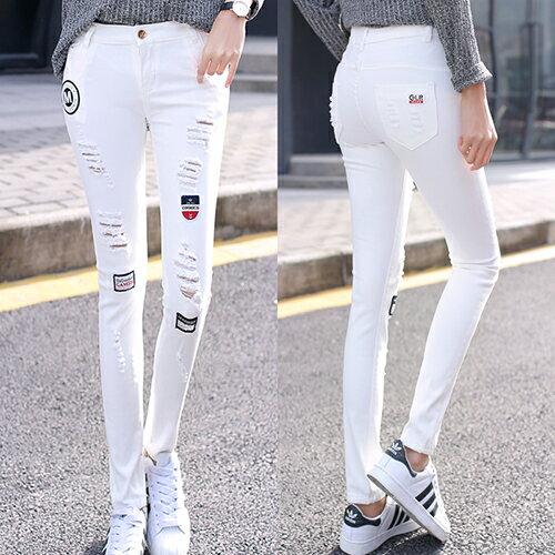 韓版刺繡破洞牛仔褲(白色26-31) 【OREAD】 0