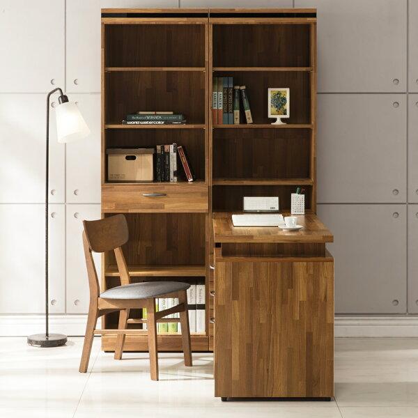 【日本直人木業】BRAC層木一個3抽一個1抽書櫃加調整書桌