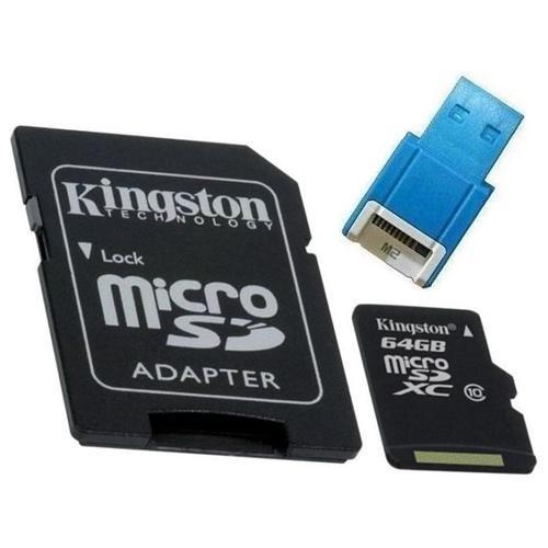 Kingston 64GB microSDXC 45MB/s UHS-I U1 Class 10 64G microSD micro SD SDXC C10 Flash Memory Card SDC10G2/64GB + OEM USB 2.0 Card Reader