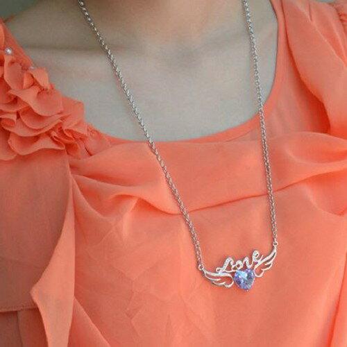 愛的天使 純銀水晶項鍊 吊墜 奧地利水晶 毛衣項鍊 手鍊 手環 耳環 情人節 沂軒 F00