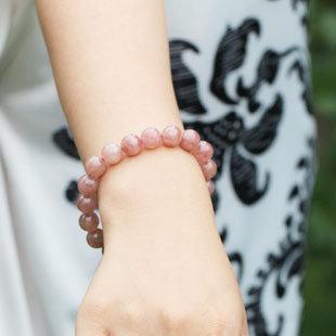 草莓晶手鏈 草莓晶圓珠手串手鏈 薔薇晶手鏈 女款