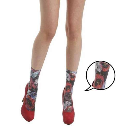 【摩達客】英國進口義大利製Pamela Mann 浪漫紅罌粟花圖紋彈性短襪/腳踝襪