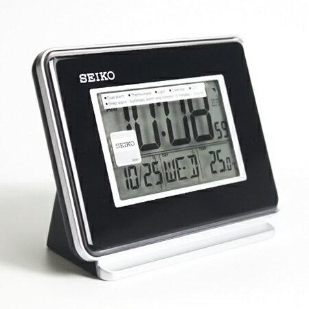 日本品牌SEIKO精工黑色電子式鬧鐘 冷光液晶顯示大字座鐘 居家美學 柒彩年代【NV1703】原廠公司貨