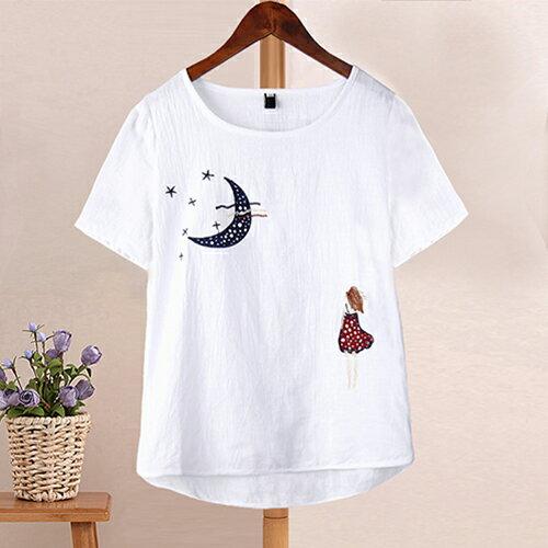 亞麻棉麻寬鬆短袖T恤 (白色,S~XL) - ORead 自由風格