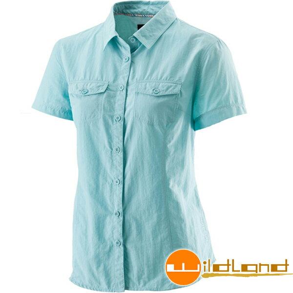 【【蘋果戶外】】荒野 W1203-65 湖水藍 WildLand 女排汗抗UV短袖襯衫 UPF30+防曬襯衫/登山休閒服/透氣排汗衣