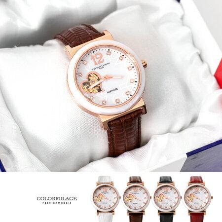 Valentino范倫鐵諾 精密心型玫瑰金機械錶腕錶皮革手錶 愛心珍珠貝面 柒彩年代【NE1780】單支價格 - 限時優惠好康折扣