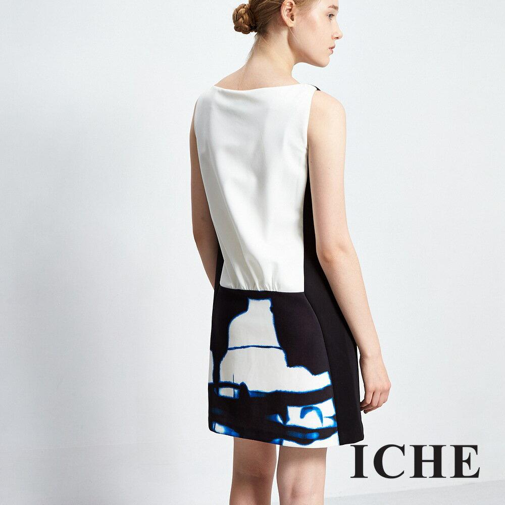 ICHE 衣哲暈染印花拼接造型洋裝